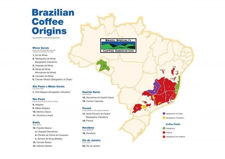 Регионы выращивания кофе в Бразилии ©Perfect Daily Grind
